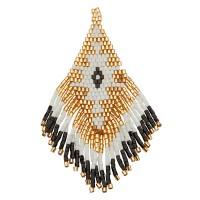 Handgefädeltes Ornament aus japanischen Rocailles, Anhänger Rhombus mit Fransen, schwarz und goldfar