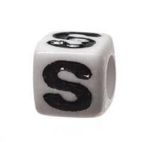 Kunststoffperle Buchstabe S, Würfel, 7 x 7 mm, weiß mit schwarzer Schrift