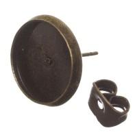 Ohrstecker mit Fassungen für Cabochon, rund 12 mm, bronzefarben