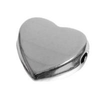 Metallperle, Herz, 12 mm, versilbert