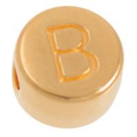 Metallperle, B Buchstabe, rund, Durchmesser 7 mm, vergoldet