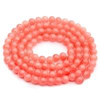 Glasperlen, Jadelook, Kugel, pink coral, Durchmesser 6 mm, Strang mit ca. 130 Perlen
