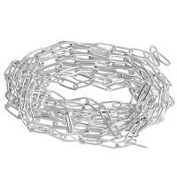 Messing Paperclip Chain, flach ovale Kettenglieder 11 x 4,3 x 0,7 mm, silberfarben, Beutel mit 2 Met