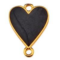 Armbandverbinder Herz, 19,5 x 13,5 mm, emailliert, vergoldet