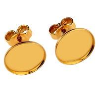 Paar Ohrstecker mit Titanstift und Flachbodenfassung für runde Cabochons 10 mm mit Stopper, vergolde