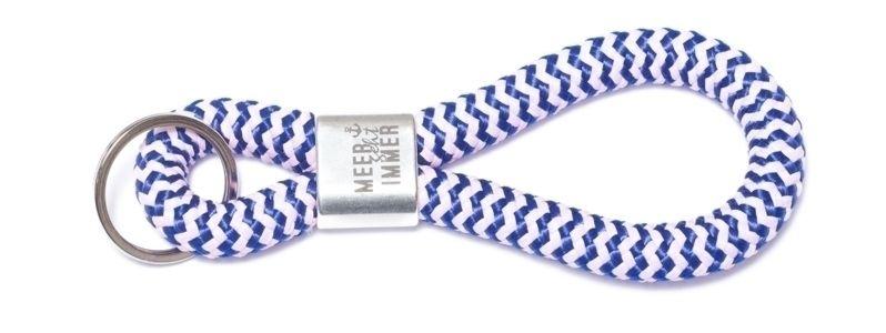Schlüsselanhänger aus Segelseil Meer Blau-Weiß