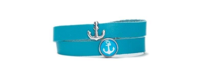 Armband mit Schiebeperlen Anker Blau