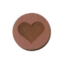 Holzcabochon, rund, Durchmesser 12 mm, Motiv Herz, rosa
