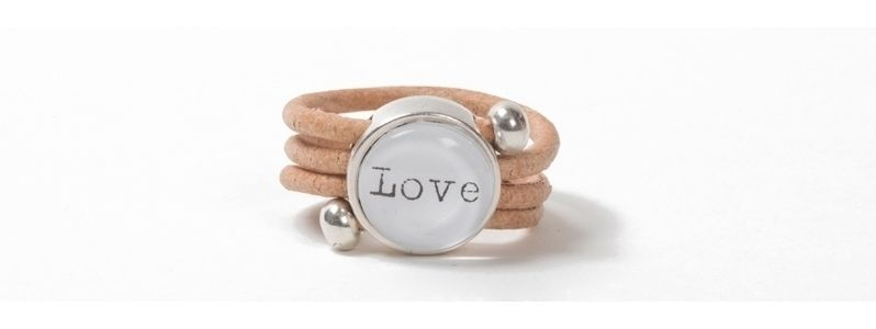 Wickelring Cabochon Love Natur