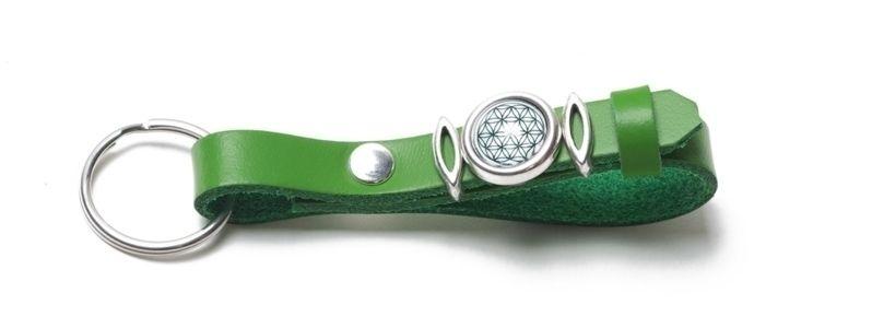Schlüsselanhänger aus Lederband mit Slidern Grün