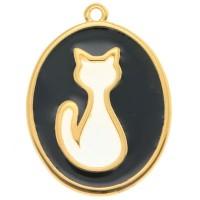Metallanhänger Katze, oval, 33,5 x 25 mm, vergoldet, schwarz emailliert