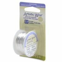 Beadalon Artistic Wire (Modellierdraht), 22 Gauge (0,64 mm), versilbert,Rolle mit 8 yd (7,3m)