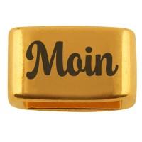 """Zwischenstück mit Gravur """"Moin"""", 14 x 8,5 mm, vergoldet, geeignet für 5 mm Segelseil"""