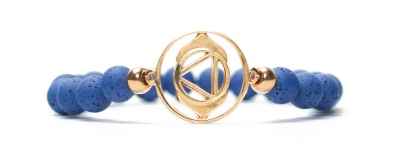 Armband Stirnchakra vergoldet blau
