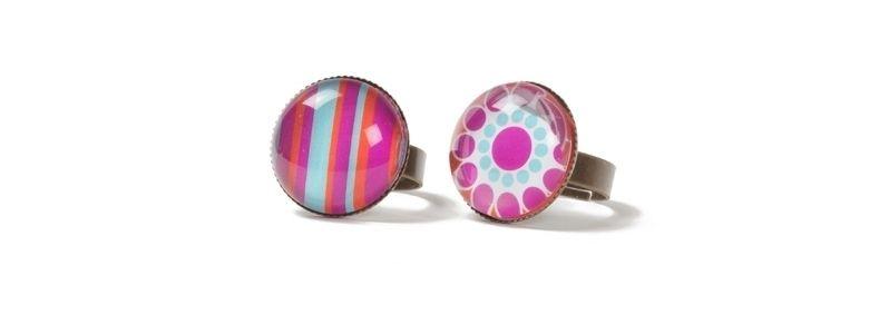 Boho-Ringe mit Glascabochons Pink