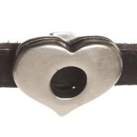 Metallperle Mini-Slider Herz, versilbert, ca. 12 x 12 mm