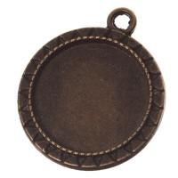 Anhänger für Cabochons, rund 20 mm, bronzefarben
