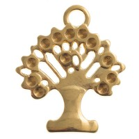 Metallanhänger Baum, 17,5 x 15 mm, vergoldet