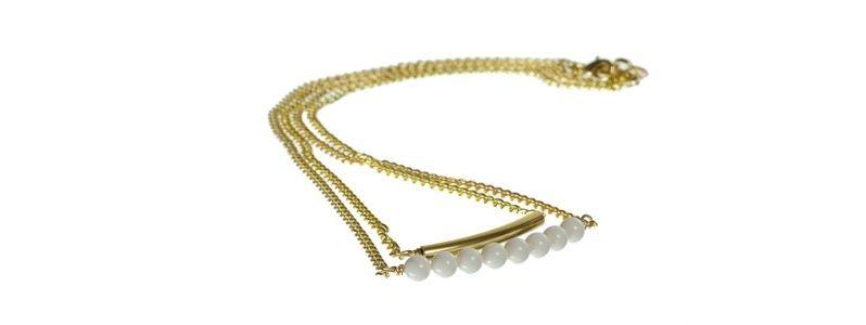 Goldene Doppelkette Ivory