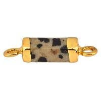 Edelstein Armbandverbinder Zylinder, Dalmatiner Jaspis, 20 x 5 mm, zwei Ösen, Fassung goldfarben
