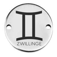 """Coin Armbandverbinder Sternzeichen """"Zwillinge"""", 15 mm, versilbert, Motiv lasergraviert"""