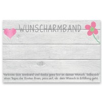 "Schmuckkarte ""Wunscharmband"", quer, grau, Größe 8,5 x 5,5 cm"
