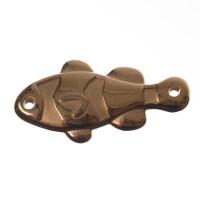 Metallanhänger / Armbandverbinder, Fisch, 25 x 13 mm, vergoldet