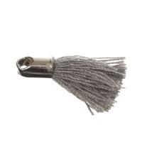 Quaste/Troddel, 18 mm, Baumwollgarn mit Endkappe (silberfarben), grau