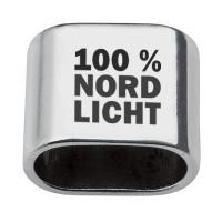 """Zwischenstück mit Gravur """"100 % Nordlicht"""", 20 x 24 mm, versilbert, geeignet für 10 mm Segelseil"""