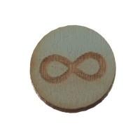 Holzcabochon, rund, Durchmesser 12 mm, Motiv Unendlichkeit, hellblau