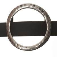 Metallperle Slider / Schiebeperle Rund groß, versilbert, ca. 48 mm
