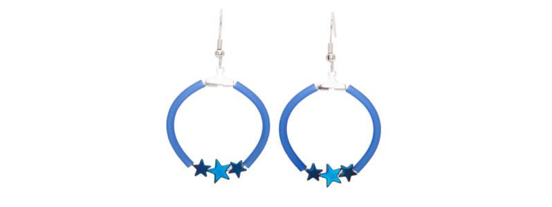 Ohrringe Creole mit Hämatitperlen Stern blau