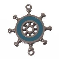 Metallanhänger/ Armbandverbinder, Steuerrad, 29 x 24 mm, versilbert