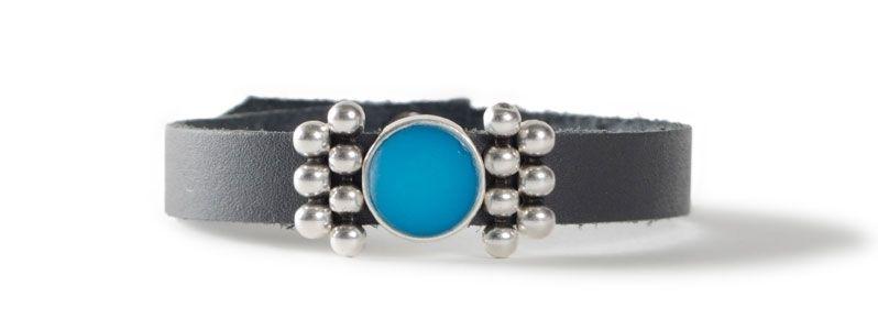 Leder-Armband mit Sliderperlen einfach Türkis