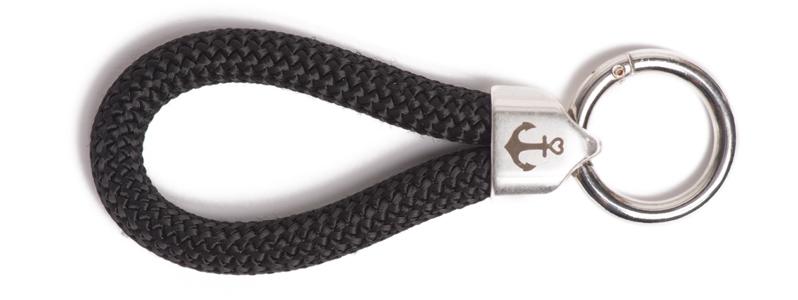Maritimer Schlüsselanhänger aus Segeltau Schwarz