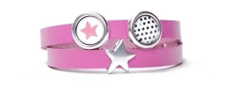 Berlin Lederarmbänder für Slider Sterne Pink