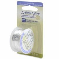Beadalon Artistic Wire (Modellierdraht), 20 Gauge (0,81 mm), versilbert, Rolle mit 6 yd (5,5 m)