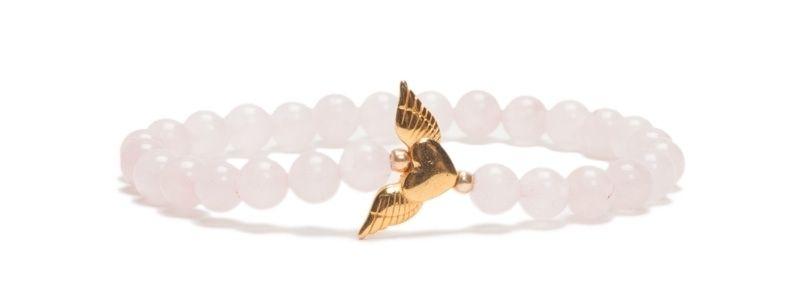 Armband mit Edelsteinen Rosenquarz Herz