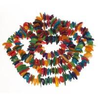 Muschelperlen, Chips, ca. 11 x 7 mm, Strang 70 cm, multicolor