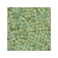 Miyuki Würfel 4 mm, transparent frstd rnbw lime, ca. 20 gr