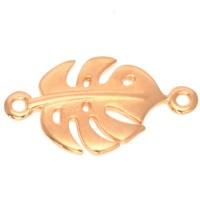 Armbandverbinder Monstera Blatt, 22,5 x 12,5 mm, vergoldet