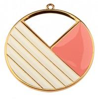 Metallanhänger Rund mit Linien, 43 mm, vergoldet und rosa und weiß emailliert