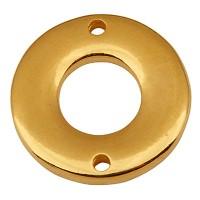 Metallanhänger Rund mit zwei Löchernm Durchmesser 18 mm, vergoldet
