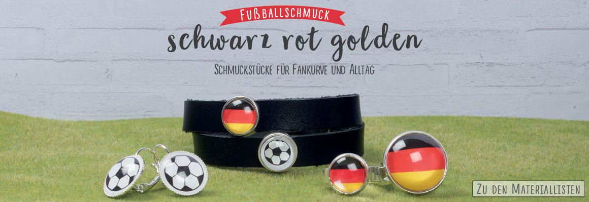 Schwarz-Rot-Golden Fußballschmuck mit Glascabochons