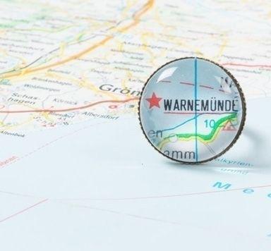 Sehnsuchtsorte - Landkartenschmuck mit Glascabochons