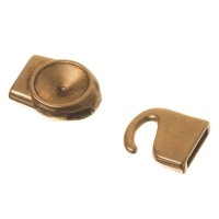 Hakenverschluss, Fassung für Rivoli 12 mm, 32 x 15 mm, bronzefarben antik