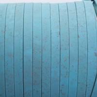 Korkband, flach, Breite 10 mm, Länge 1 m, türkis