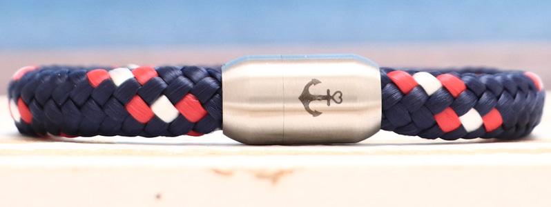 Segeltauarmband mit 8 mm Segeltau Anker blau