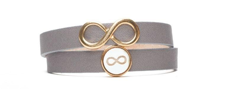 Sliderarmband Holzcabochon Infinity Vergoldet