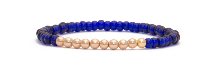 Armband mit vergoldeten Perlen Kugeln und Rocailles